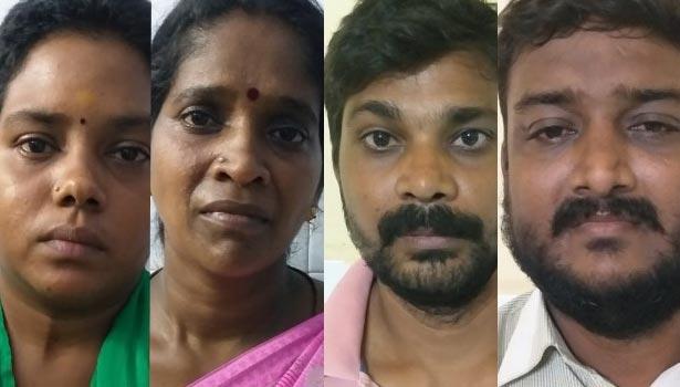 கைதான தேவி, வள்ளி மற்றும் மணிகண்டன், சுரேஷ்
