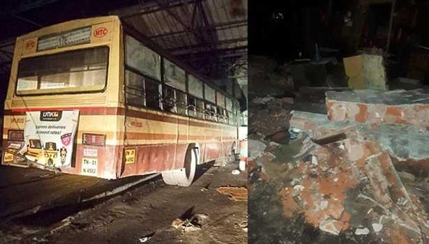 சென்னை வடபழனி போக்குவரத்து பணிமனையில் ஏற்பட்ட விபத்து