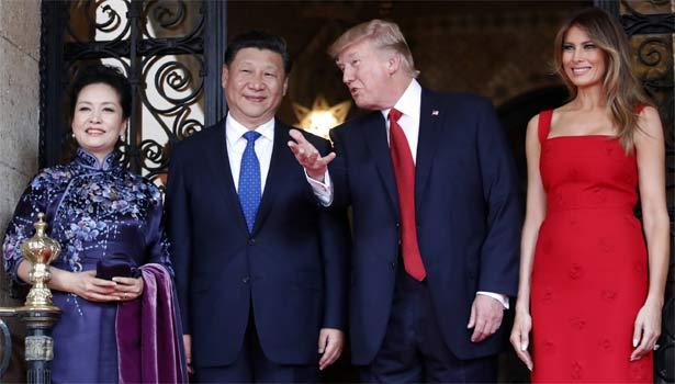 Xi Jinping e sua moglie, Donald Trump e sua moglie